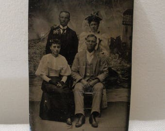 Antique Tintype Photo - 2 Couples with Painted Ocean Background