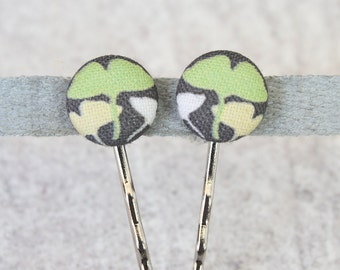 Ginko Leaves Fabric Button Bobby Pin Pair