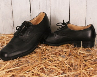 Vintage Genuine Leather Shoes, Black Leather Shoes, Dress Shoes for Men, Dress Black Shoes, Man's Leather Shoes, Made in Bulgaria