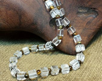 Tiger in the Light Glass Cubed Necklace