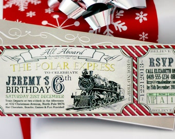 Polar Express BIRTHDAY Invitation Red - INSTANT DOWNLOAD - Partially Editable & Printable Birthday Decorations by Sassaby Parties