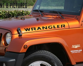 Side Hood Rubicon Style Custom Text Jeep Wrangler  (9 Fonts Available)