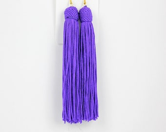 Bold Violet Tassel Earrings, Fringe Earrings, Hypoallergenic Earrings, Purple Boho Earrings, Long Dangle Earrings, Bridesmaid Earrings
