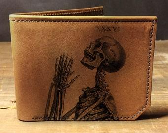Mens wallet, Leather wallet, Mens leather wallet, Bifold wallet, praying skeleton wallet