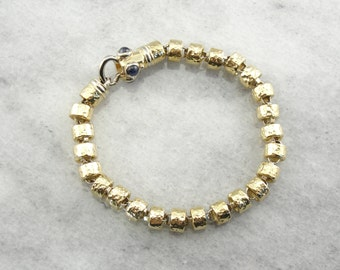 Yellow Gold Bracelet with Faceted Links and Decorative Clasp KP3VD7-P