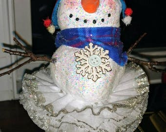 Snowgirl with real twig arms