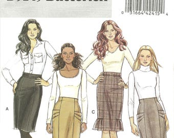 Straight, High Waist Skirts with Side Front Pleats, Pockets, Self Ruffle Office Wardrobe Butterick Sewing Pattern 5249 Size 14 16 18 20