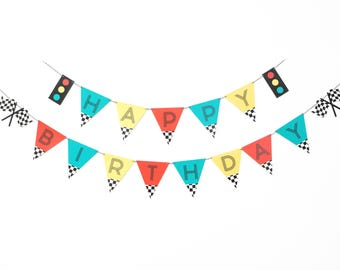 Vintage Race Car- Birthday Banner   Red, Yellow, Teal   Car theme Birthday Party