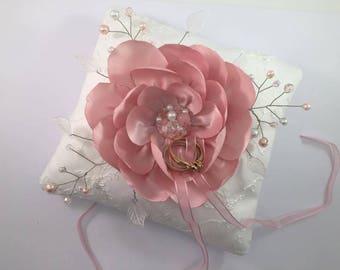 Wedding bridal silk Rose flowers wedding ring pillow cushion