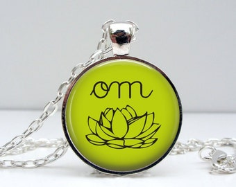 Om Yoga Necklace : Glass Dome Art Picture Pendant Photo Pendant Handcrafted Jewelry  (1401)