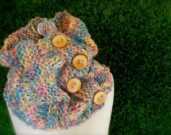 Cotton Candy Four Button Cowl