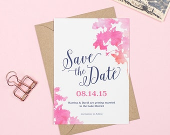 Pink and navy watercolour 'Blossom' Wedding Save The Date cards