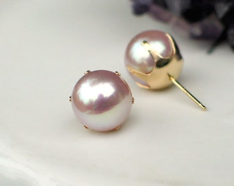 14k Gold Pearl Studs   9mm Soft Lavender Pink Freshwater Pearl   Prong Set Vintage Style Pearl Studs   Classic Pearl Earrings Ready to Ship