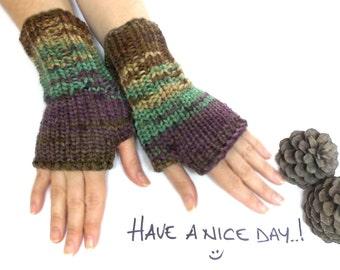 Brown knitting fingerless glove,  fingerless mittens, wrist warmers, knit gloves, brown, green, yellow, purple