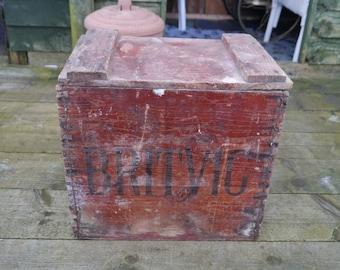 Vintage Wooden Crate, Britvic Bottle Crate - Advertising Crate - Wooden Crate Storage - Vintage Wooden Box - Industrial Vintage