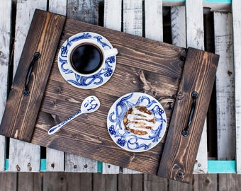 Rustic Wooden Tray + Serving Tray + Breakfast Tray + Ottoman Tray + Wedding Gift + Wood Breakfast Tray + Coffee Table Tray + Wooden Tray