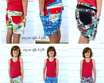 PATTERN: SHORTS - Busy Boys Everyday Shorts - PDF Sewing Pattern - Instant Download - Pattern Emporium