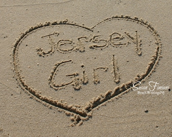 Jersey Girl on the Jersey Shore Beach Art Heart in Sand Photo