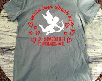 Valentine's day cupid struck by smooth criminal shirt