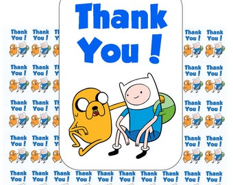 """50 Adventure Time Thank You! Envelope Seals / Labels / Stickers, 1"""" by 1.5"""""""