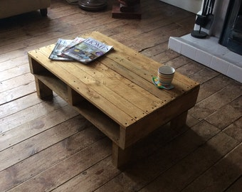 Handmade Reclaimed Rustic Wood Coffee Table with shelf