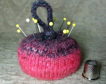 Wool & Silk Pincushion in Gradient Pink and Black