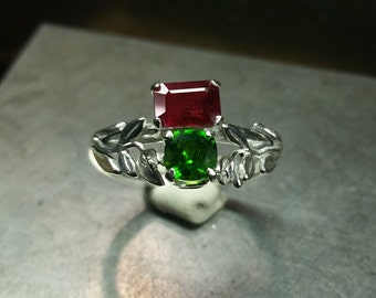 Ruby and Chrome Diopside Ring Sz 7.5 Handmade