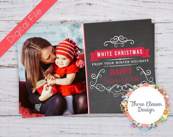 Red Glitter Printable Christmas Card