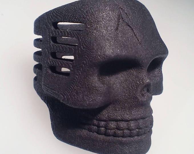 Skull Microphone Ring Matte Black Steel Finish