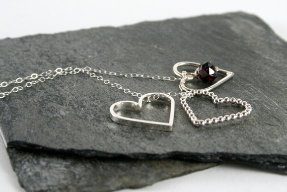 Heart Charms, Ruby Red Garnet Sterling Silver Necklace Valentine under 100
