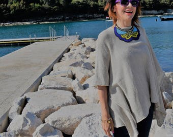 Boho Beach Linen Poncho cape . Natural Linen Tunic Top. Cruise Cover Up,  Natural Linen Knit Poncho.Petite and Plus size Linen Poncho