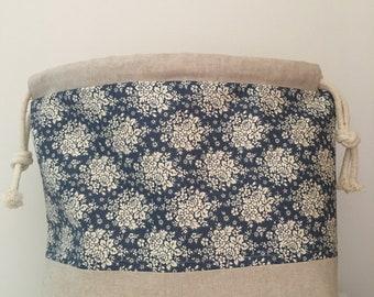 Large knitting / crochet project bag - Dark blue floral Tilda