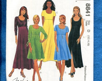 McCalls 8841 Easy Fitting Raised Waist Dress with Scoop Neckline Size 12..14..16 UNCUT