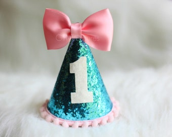 Mini Baby Party Hats. Turquoise & Pink Hat. Party Hat Headband. Baby Party Hat. First Birthday. Cake smash. 1st birthday. Glitter Party Hat.
