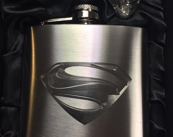 Superman logo HIPFLASK The Man Of Steel movie symbol Stainless Steel 6 oz hip flask