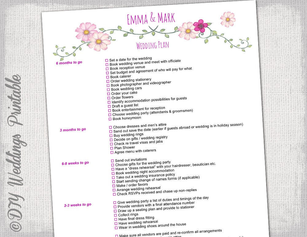 Wedding Checklist To Do List Wedding Planner Timeline - Wedding planning timeline template