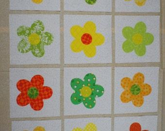 Set of Twelve Applique Quilt Blocks...Citrus Colored Flower Design