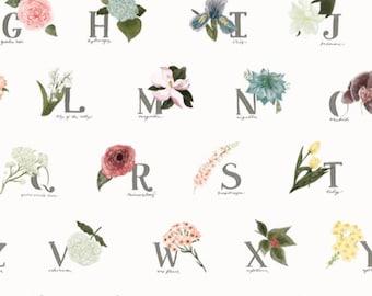 Gardeners Alphabet. Alphabet Blanket. Alphabet Throw Cover. Floral Gardening. Gardening Decor. Gardening Blanket. Floral Gardening Blanket.