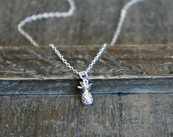 Tiny Pineapple Necklace // Small 10mm 3D Pineapple Pendant on a Sterling Silver Chain / Friendship Necklace / Dainty Fun Jewelry