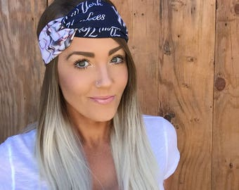 New York Yankees Vintage Pinup Turban Headband || Hair Band NY Baseball Accessory Workout Yoga Fashion Red Navy Blue White Head Scarf Girl