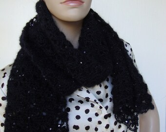 Sequin Scarf, Crochet Scarf, Mohair Scarf, Black Sequin Scarf, Lace Scarf, Women's Scarves, Black Scarf, Hand Crocheted, Gift for Her