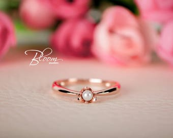 Freshwater Pearl Ring 14K Solid Gold Ring Unique Rose Gold Ring Rose Gold Pearl Ring Flower Gold Ring Rose Flower Ring BloomDiamonds