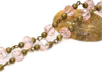 Pink 8x6mm fancy Crystal beaded chain dangles