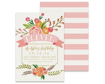 Printable Birthday Invitation | In Bloom White | Printable DIY Invite, Affordable Invitation, Digital Invite, Girl's Invite, 11th Birthday