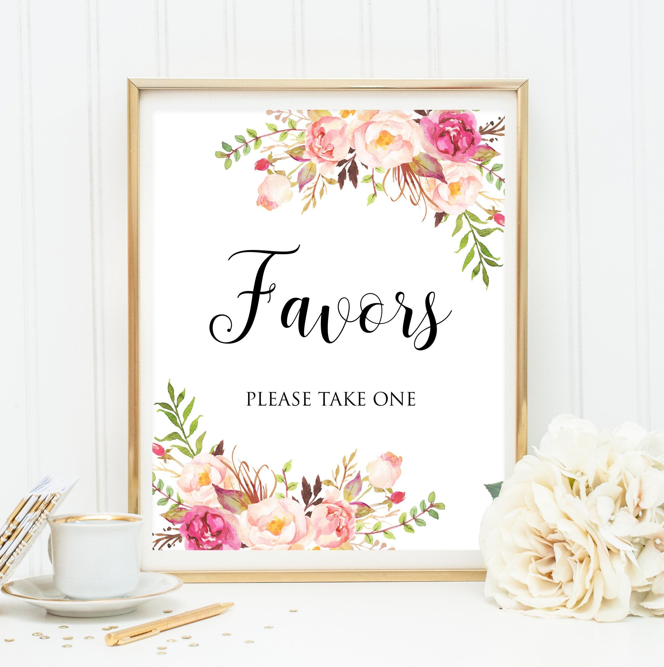 Wedding Favors Decor Favor Sign Wedding Favors Sign Floral