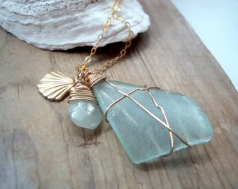 Ocean Magic - Brass Shell and Sea Glass Necklace With Aquamarine Brass Jewelry March Birthstone Layering Necklace Beachy Summer Jewelry