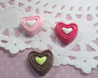 3 Valentine Heart Candy Cabochons, one of each color #055a