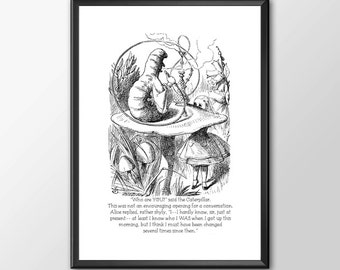Who Are You - Traditional Alice In Wonderland Art  - PRINTED - BUY 2 Get 1 FREE