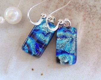 Blue Earrings, Dichroic Glass Earrings, Fused Glass Jewelry, Dangle, Sterling Silver, A10