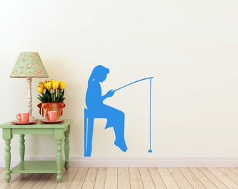 Girl Fishing on a Dock, vinyl Wall DECAL- lake interior design, sticker art, room, home and business decor